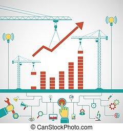 conceito, negócio, infographics