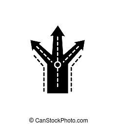 conceito, negócio, isolado, ilustração, sinal, experiência., vetorial, pretas, ícone, símbolo, decisões