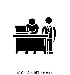 conceito, negócio, isolado, ilustração, sinal, experiência., vetorial, pretas, mentor, ícone, símbolo
