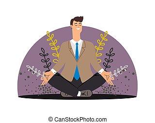 conceito, negócio, isolado, vetorial, meditação, man., feliz