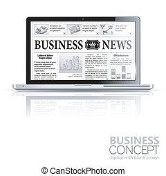 conceito, negócio, laptop, -, digital, notícia, news.