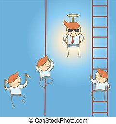 conceito, negócio, liderar, ganhe, personagem, alto, caricatura, homem
