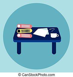 conceito, negócio, local trabalho, escrivaninha, tabela, ícone