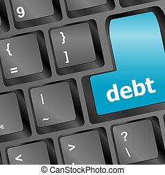 conceito, negócio, -, lugar, tecla, entrar, dívida