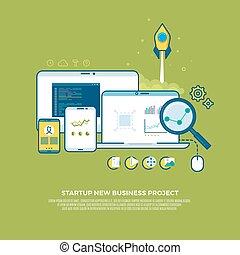conceito, negócio, marketing, cima, estratégia, início, vetorial, fundo, digital, gerência