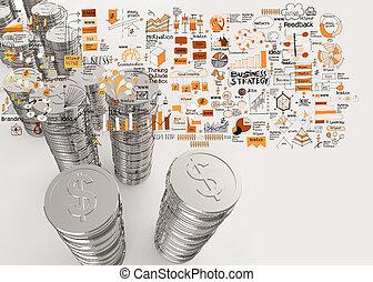 conceito, negócio, moedas, dólar, estratégia, mão, desenhado, sinal, pilha, 3d