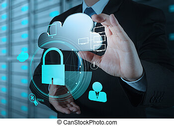 conceito, negócio, mostrar, internet, mão, padlock, online, homem negócios, segurança, ícone, nuvem, 3d