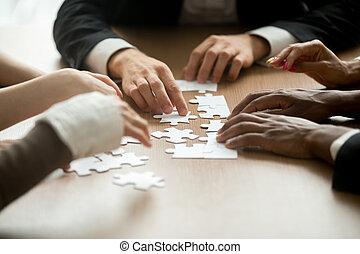conceito negócio, multiracial, trabalho equipe, soluções, equipe, assemb