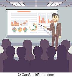 conceito, negócio, oficina, vetorial, conferência, treinamento, apresentação, público