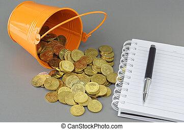 conceito, negócio, ouro, notepad, moedas, balde, -