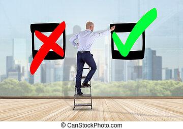 conceito, negócio, parede, -, escolha, bom, tiquetaque, frente, homem negócios
