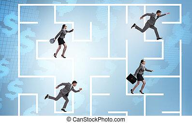 conceito, negócio, perdido, pessoas, incerteza, obtendo, labirinto