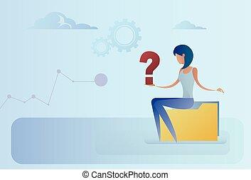 conceito, negócio, pergunta, pondering, marca, mulher, problema