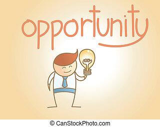 conceito, negócio, personagem, idéia, novo, oportunidade, caricatura, homem