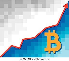 conceito, negócio, positivo, -, bitcoin, sinal, seta, gráfico