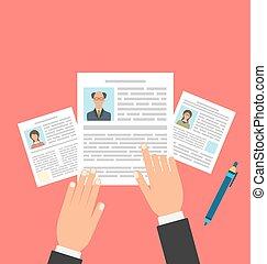 conceito, negócio, retomar, entrevista trabalho, cv