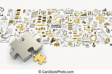 conceito, negócio, sociedade, mão, quebra-cabeças, desenhado, estratégia, 3d