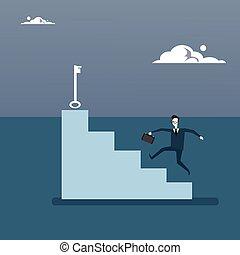 conceito, negócio, sucedido, cima, idéia, crescimento, tecla, homem negócios, novo, escalar, escadas, homem