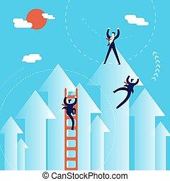 conceito, negócio, sucesso, homens, ilustração, escalar