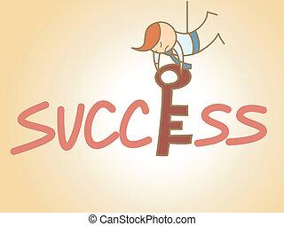 conceito, negócio, sucesso, personagem, tecla, preencher, caricatura, homem