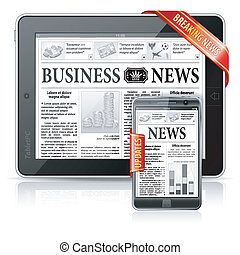 conceito, negócio, tabuleta, &, quebrar, -, pc, smartphone, notícia