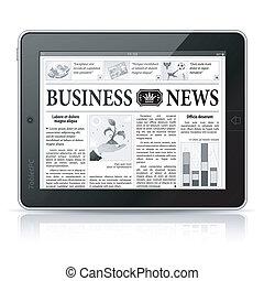 conceito, negócio, tabuleta, tela, -, pc, digital, notícia, news.