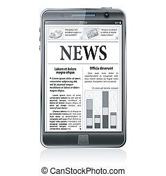 conceito, negócio, tela, -, smartphone, digital, notícia, news.