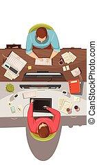 conceito, negócio, topo, desenho, reunião, vista