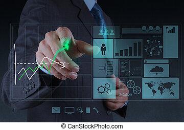 conceito, negócio, trabalhando, modernos, mão, computador,...