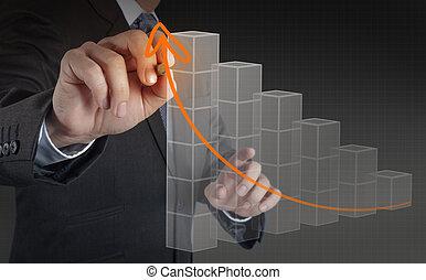conceito, negócio, trabalhando, modernos, mão, computador, homem negócios, novo, estratégia