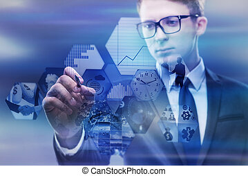 conceito, negócio, virtual, botões, apertando, homem negócios