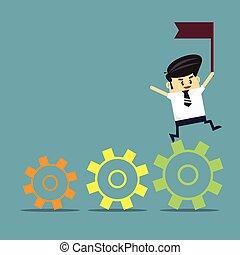 conceito negócio, work., sucesso, equipe
