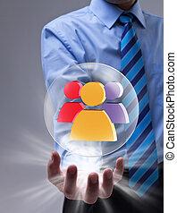 conceito, networking, coloridos, esfera, vidro, social, ícone