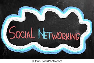conceito, networking, social