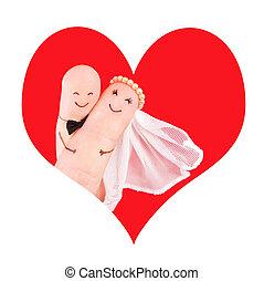 conceito, newlyweds, coração, par, casório, vermelho