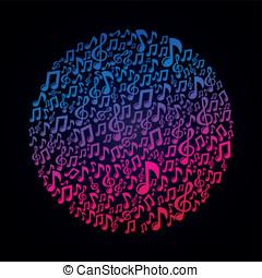 conceito, notas, -, vetorial, música, musical