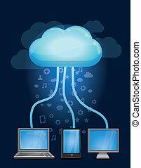 conceito, nuvem, computando