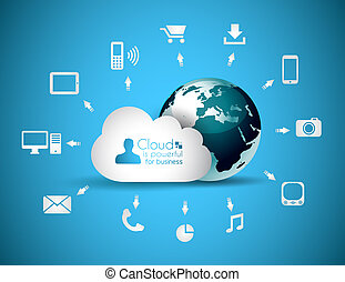 conceito, nuvem, fundo, computando