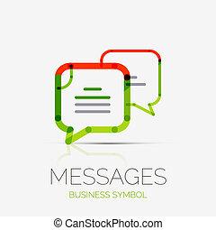 conceito, nuvens, negócio, companhia, mensagem, logotipo