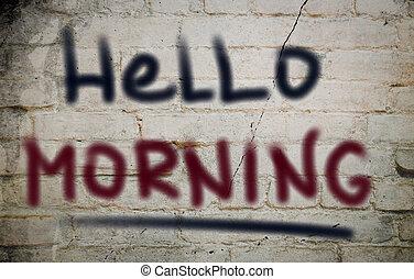 conceito, olá, manhã
