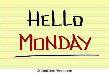 conceito, olá, segunda-feira