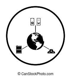 conceito, ouro, óleo, dólar, planeta, ícone