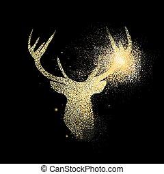 conceito, ouro, símbolo, veado, ilustração, brilhar, ícone