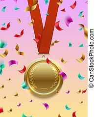 conceito, ouro, vencedor, -, vetorial, vermelho, confetti, medalha, fita