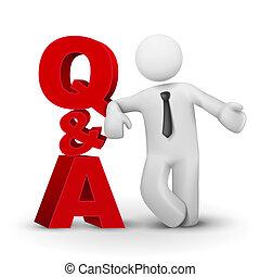 conceito, palavra, apresentando, homem negócios, q&a, 3d