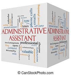 conceito, palavra, assistente, cubo, administrativo, nuvem, 3d