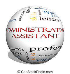conceito, palavra, assistente, esfera, administrativo, nuvem, 3d