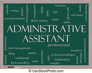 conceito, palavra, assistente, quadro-negro, administrativo, nuvem