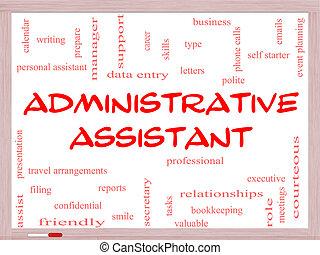 conceito, palavra, assistente, whiteboard, administrativo, nuvem
