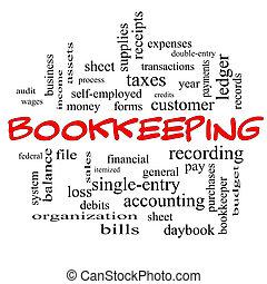 conceito, palavra, bonés, nuvem, contabilidade, vermelho
